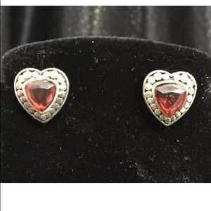 Jewelry - Earrings Red Stone Heart Silver Tone Valentines
